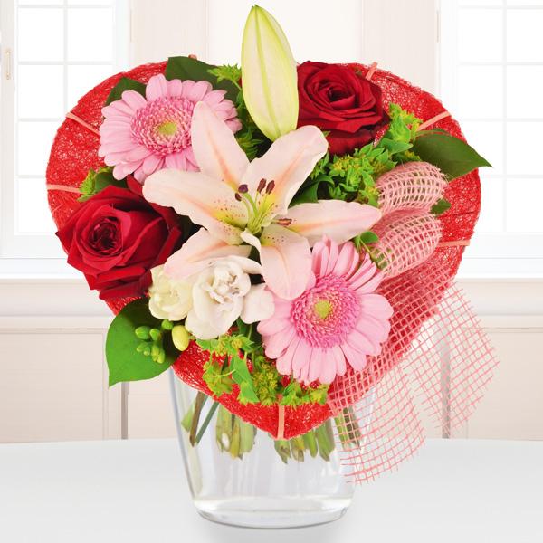 Blumenstrauß Lilienherz Rot Rosa
