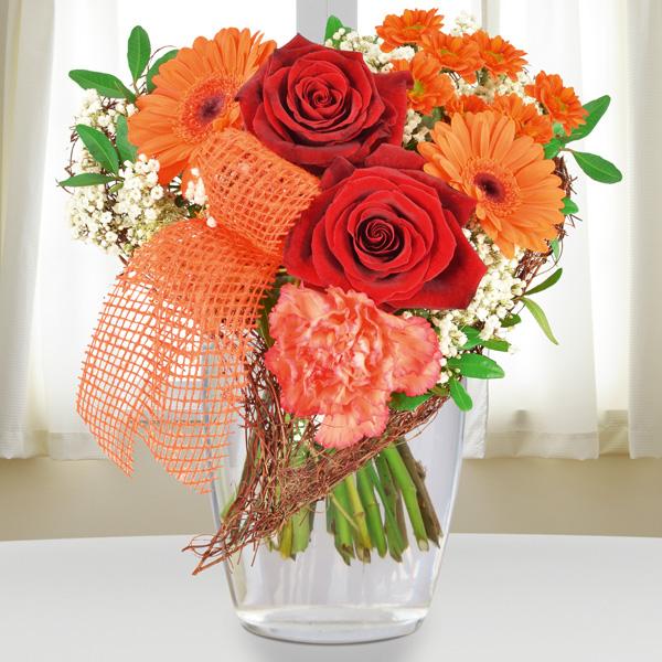 Blumenstrauß Von Herzen Orange Rot