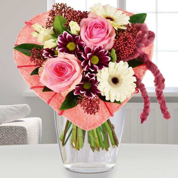 Blumenstrauß Von Herzen Rosa Weiß