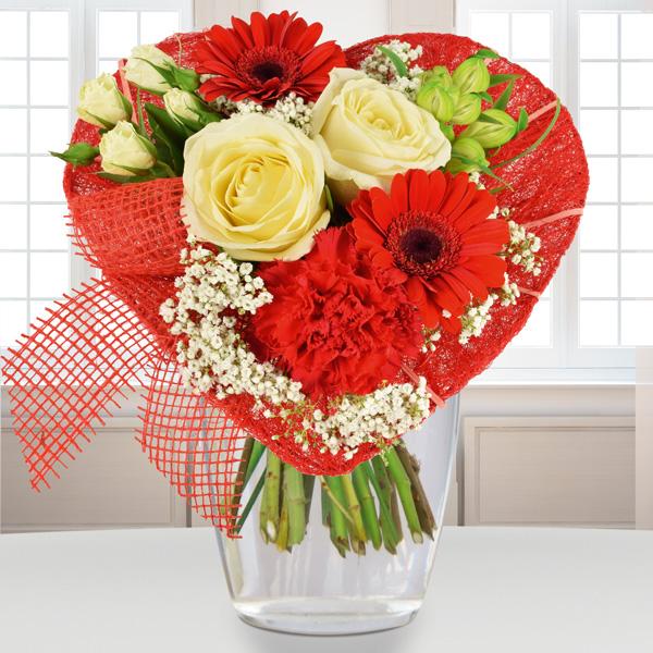 Blumenstrauß Von Herzen Rot Weiss