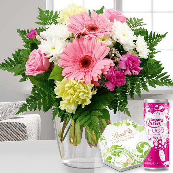Blumenstrauß Blumenfreude Weiß Rosa mit Pralinen Hugo