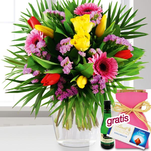 Blumenstrauß Frühlingsfarben mit Vase, Lindt Schokolade Perlwein