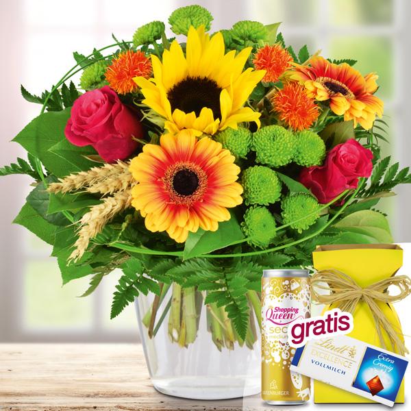 Blumenstrauß Sommerzeit mit Vase, Lindt Schokolade Secco