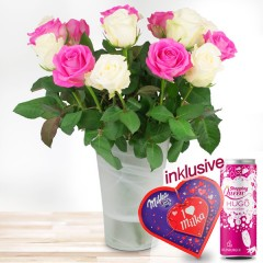 15 rosa-weiße Rosen