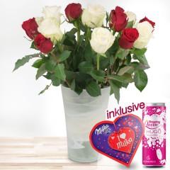 15 rot-weiße Rosen