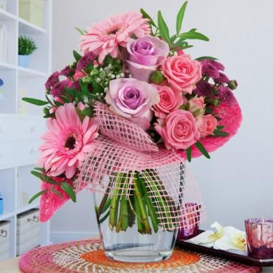 Blumenstrauß Von Herzen Rosa-Lila