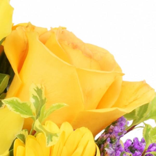 blumengesteck orchideengru gelb lila im herz zinktopf nach anlass blumenstr u e. Black Bedroom Furniture Sets. Home Design Ideas