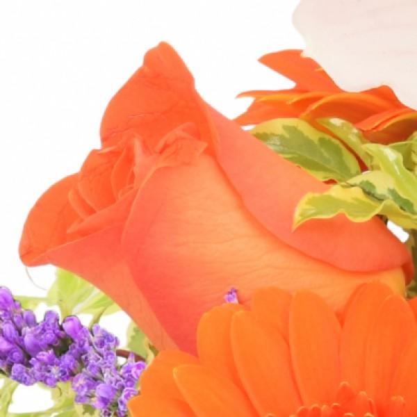 Blumengesteck Orchideengruß Orange-Weiß im Herz-Zinktopf ...