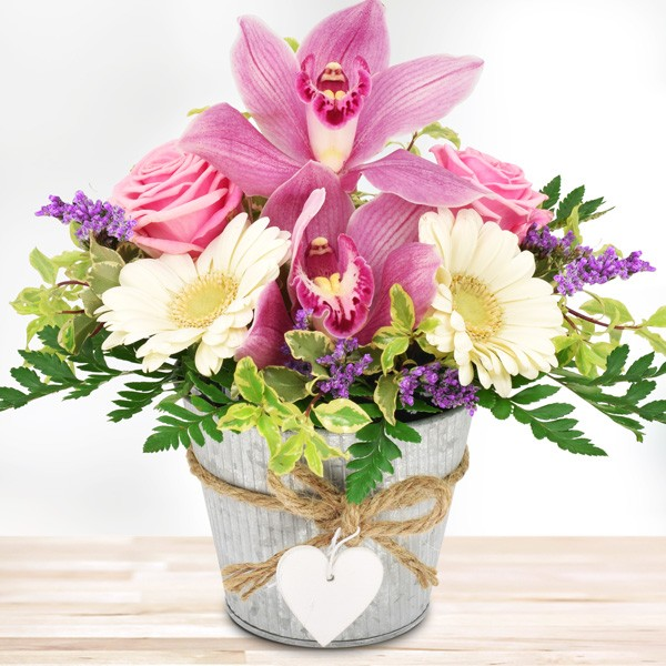blumengesteck orchideengru rosa wei im herz zinktopf. Black Bedroom Furniture Sets. Home Design Ideas