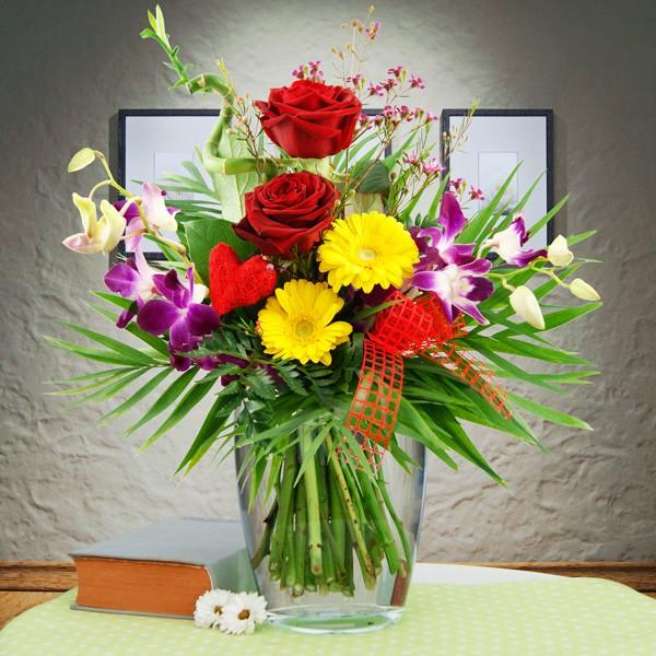 Blumenstrauß Herzensfreude Rot-Gelb - Orchideensträuße - Nach Sorte ...