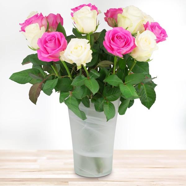 15 rosa-weiße Rosen - Nach Preis - Schnittblumen Blumenversand ...