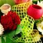 Trockenblumen und Schleife