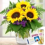 Blumenstrauß Sonnenschein mit Lindt-Schokolade & Secco